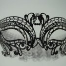 Black Crystal Dream Laser Cut Venetian Mask Masquerade Halloween Metal Filigree