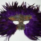 Purple Soft Feather Mask Masquerade Mardi Gras Party
