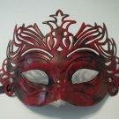 Dark Antique Red Venetian Laser Cut Mardi Gras Masquerade Half Mask Crown