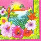 Luau Hibiscus Flower Parrot Beach Beverage Napkins 16 ct Party Supplies
