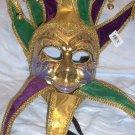 Jester Joker Purple Green Gold Mardi Gras Masquerade Mask Wall Hanging Mask