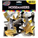 40 Pc Plastic Noisemakers Black Gold Silver New Years Eve Party Supplies