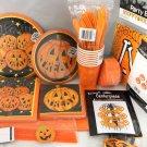 Halloween Pumpkin Smiles 99pc Supplies Deluxe Party Pack Decor Plates Napkins
