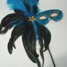 TURQUOISE BLUE FEATHER MASQUERADE BALL DECOR  MARDI GRAS PARTY STICK MASK
