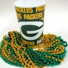 Green Bay Packers 22 oz Cup 12 Mardi Gras Beads Green Gold Party Supplies Favors