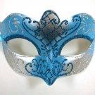 Light Aqua Blue Silver Scroll Mardi Gras Masquerade Small Teen Kid Mask
