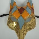 Venetian Fox Orange Blue Red Gold Masquerade Mardi Gras Mask Halloween