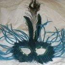 Turquoise Wild Feather Masquerade Mardi Gras Mask