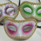 Green, Pink, Purple, or Red and White Gold Mardi Gras Masquerade Value Mask Wide