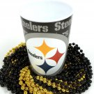 Pittsburgh Steelers 22 oz Cup 12 Mardi Gras Beads Black Gold Party Supplies