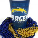 San Diego Chargers 22 oz Cup 12 Mardi Gras Beads Blue Gold Party Supplies