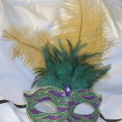 Green Yellow Wave Feather Masquerade Mardi Gras Mask
