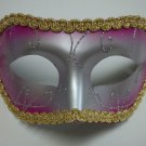 Pink Silver Gold Wide Mardi Gras Masquerade Party Value Mask