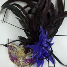 Purple Gold Fancy Lady Feather Flower Masquerade Party Mardi Gras Mask