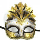 Black Gold Venetian Mask Masquerade Mardi Gras Party Leaf Cascade Crystals