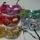 1 Metallic Flower Mardi Gras Mask Colorful Choice Pink Red Gold Silver Green