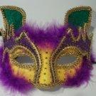 Cat Purple Green Yellow Gold Masquerade Ball Mardi Gras Mask Brillant Fabric
