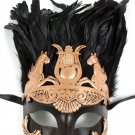Men Copper Greek Roman Warrior Knight Caesar Masquerade Party Ball Feather Mask