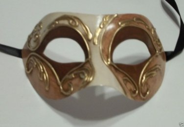 Brown Gold Colombina Masquerade Mardi Gras Mask Italy Italian Venetian Made