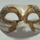 White Gold Colombina Masquerade Mardi Gras Mask Italy Italian Venetian Music