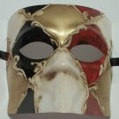 Black Gold Red Bauta Venetian Masquerade Mardi Gras Mask Italy Italian Made