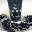 Dallas Cowboys 22 oz Cup 12 Mardi Gras Beads Navy Silver Party Supplies Favors