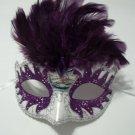 Purple Pearl Small Kid Venetian Masquerade Feather Mask