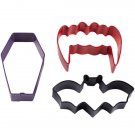 Wilton Vampire Cookie Cutter Set Kit Halloween 3 pc Bat Teeth Coffin