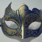 Dark Blue Gold Venetian Mask Masquerade Mardi Gras Free Shipping