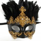Gold Copper Greek Roman Warrior King Masquerade Party Halloween Feather Mask