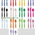 Solid 24 pc Cutlery Forks Spoons Knives Red Blue Yellow Green Purple Pink Black