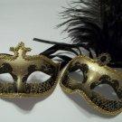 Gold Black Couples Man Woman Masquerade Mardi Gras Masks Male Female Set