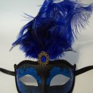 Royal Blue Black Jewel Gem Venetian Feather Masquerade Mardi Gras Mask 12""