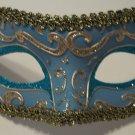 Lt Blue Silver Gold Exquisite Venetian Mardi Gras Masquerade Mask Free Shipping