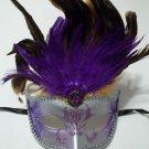 Purple Venetian Feather Mask Masquerade Mardi Gras