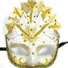 White Gold Venetian Mask Masquerade Mardi Gras Party leaf cascade Crystal