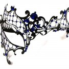 Black BLUE Rhinestone Phantom Laser Cut Venetian Masquerade Metal Filigree Mask