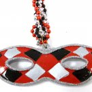 Red Black Silver Mask Mardi Gras New Orleans Necklace Beads Bead