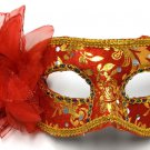 Red Gold Flower Masquerade Party Value Mardi Gras Halloween Mask