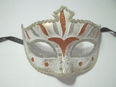 Orange White Venetian Mardi Gras Prom Masquerade Mask