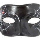 Black Spider Web Masquerade Paper Mache Mardi Gras Halloween Ball Mask