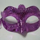 Scallop Bright Purple Metallic Venetian Mardi Gras Masquerade Party Value Mask