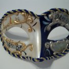 Blue White Vintage Musica Venetian Small Mardi Gras Masquerade Mask