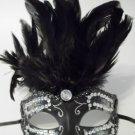 Rhinestone Crystal Black Feather Venetian Mardi Gras Masquerade Prom Ball Mask