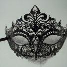 Black Laser Cut Venetian Mask Masquerade Ball Prom Metal Filigree