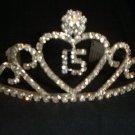 Quinceanera 15 Heart Scroll Silver crystal Tiara