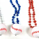 BaseBall Pendant with Baseball Shaped Mardi Gras Beads Necklace