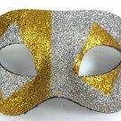 Gold Silver Glitter Diamond Wide Masquerade Mask Dance Ball Men