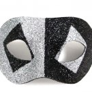 Silver Black Glitter Diamond Wide Masquerade Mask Dance Ball Men
