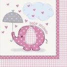 Umbrella Elephant Pink Girl Baby Shower Party Supplies Beverage Napkins
